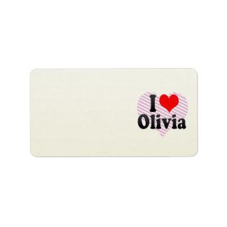 I love Olivia Personalized Address Labels