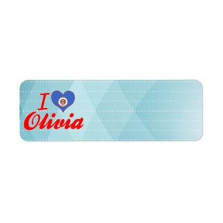 I Love Olivia, Minnesota Return Address Labels