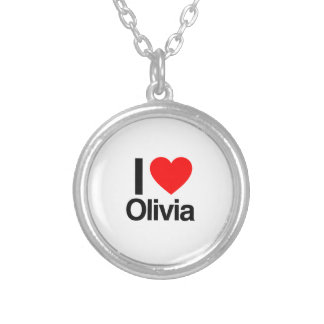 i love olivia round pendant necklace