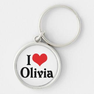 I Love Olivia Silver-Colored Round Keychain