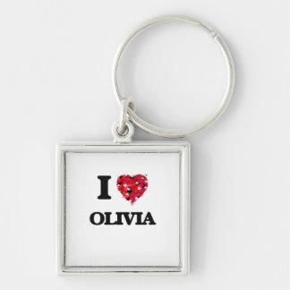 I Love Olivia Silver-Colored Square Keychain