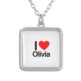 i love olivia square pendant necklace