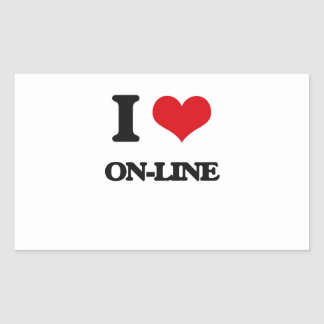 I Love On-Line Rectangle Stickers