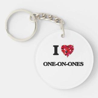 I Love One-On-Ones Single-Sided Round Acrylic Keychain
