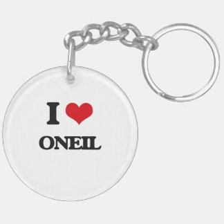 I Love Oneil Double-Sided Round Acrylic Keychain