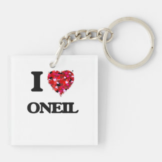 I Love Oneil Double-Sided Square Acrylic Keychain