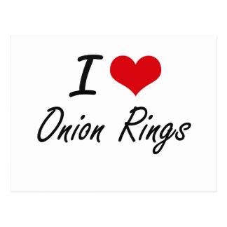 I Love Onion Rings artistic design Postcard