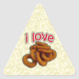 I Love Onion Rings Triangle Sticker