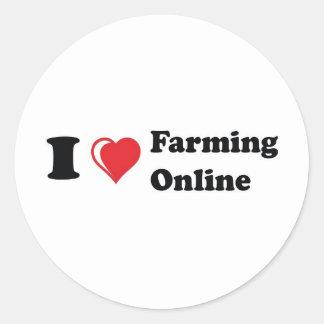 i love online farming classic round sticker