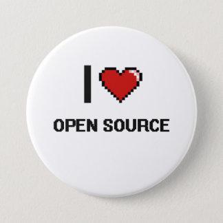 I Love Open Source Digital Retro Design Pinback Button