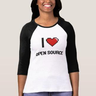 I Love Open Source Digital Retro Design Shirt