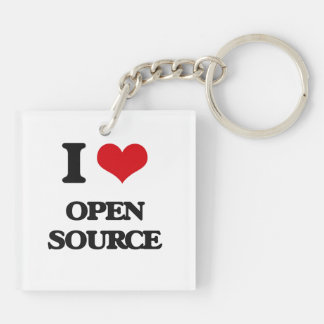 I Love Open Source Double-Sided Square Acrylic Keychain