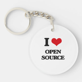 I Love Open Source Single-Sided Round Acrylic Keychain