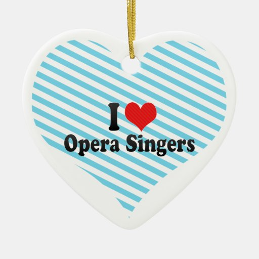 I Love Opera Singers Double-Sided Heart Ceramic Christmas Ornament