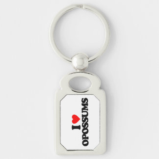 I LOVE OPOSSUMS Silver-Colored RECTANGULAR METAL KEYCHAIN