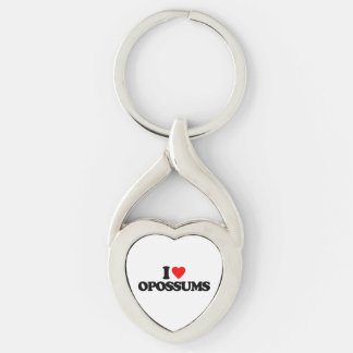 I LOVE OPOSSUMS Silver-Colored Heart-Shaped METAL KEYCHAIN