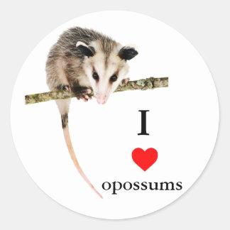 I Love Opossums Sticker