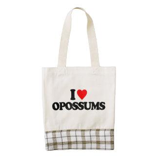 I LOVE OPOSSUMS ZAZZLE HEART TOTE BAG