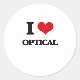 I Love Optical Round Sticker