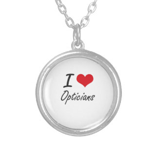 I love Opticians Round Pendant Necklace