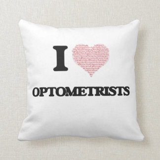 I love Optometrists (Heart made from words) Throw Pillow
