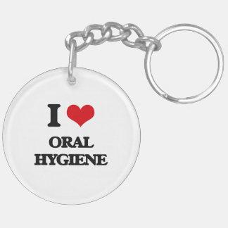 I Love Oral Hygiene Double-Sided Round Acrylic Keychain