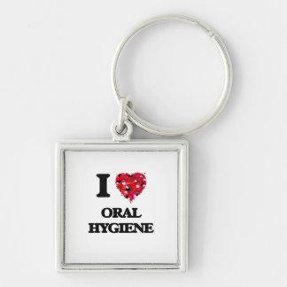 I Love Oral Hygiene Silver-Colored Square Keychain