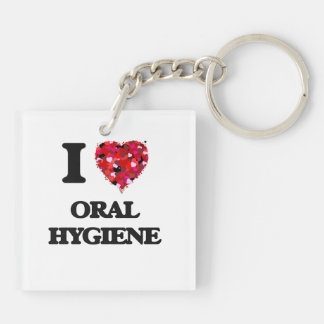 I Love Oral Hygiene Double-Sided Square Acrylic Keychain