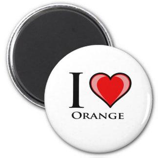 I Love Orange 2 Inch Round Magnet