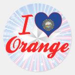 I Love Orange, New Hampshire Classic Round Sticker
