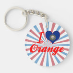 I Love Orange, New Hampshire Single-Sided Round Acrylic Keychain