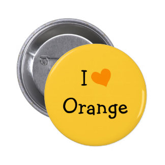 I Love Orange Pinback Button
