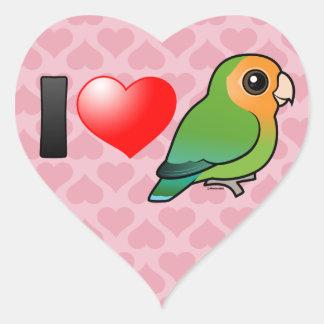 I Love Orangeface Peach-faced Lovebirds Heart Sticker