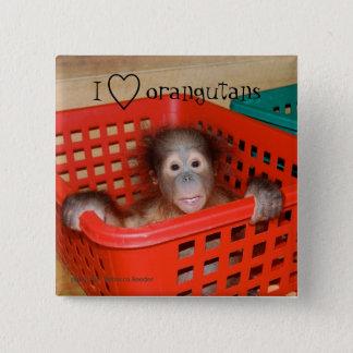 I Love Orangutans Animal Lover Pinback Button