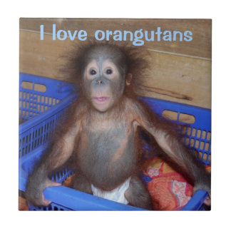 I Love Orangutans Cute Baby Face Tile