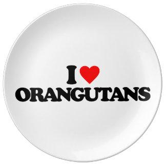 I LOVE ORANGUTANS PORCELAIN PLATE