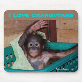I Love Orangutans Mouse Pad
