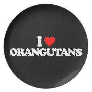I LOVE ORANGUTANS PARTY PLATES