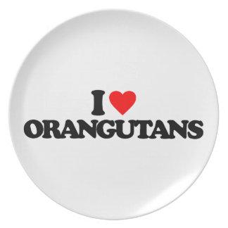 I LOVE ORANGUTANS PLATES