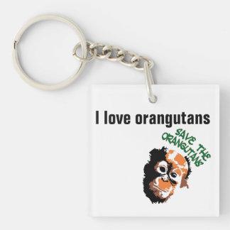 I Love Orangutans Single-Sided Square Acrylic Keychain