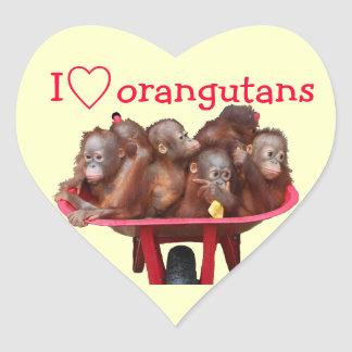 I Love Orangutans Heart Stickers
