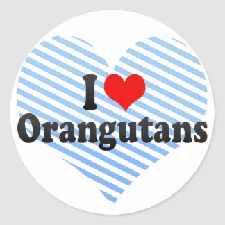 I Love Orangutans Round Stickers