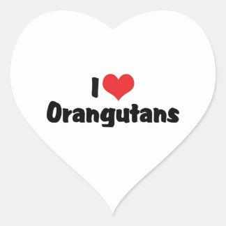 I Love Orangutans Heart Sticker