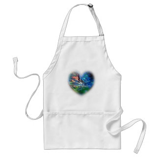 I love Orca Whales in heart gifts Adult Apron