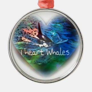 I love Orca Whales in heart gifts Metal Ornament