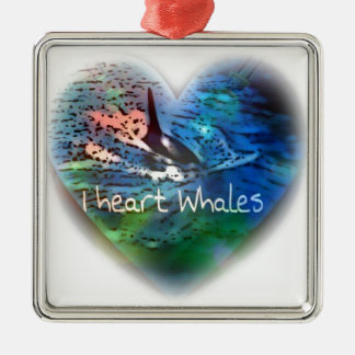 I love Orca Whales in heart gifts Christmas Tree Ornaments