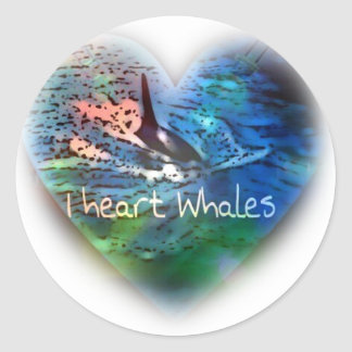 I love Orca Whales in heart gifts Classic Round Sticker