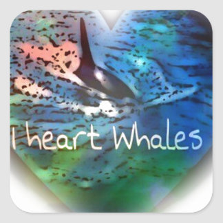 I love Orca Whales in heart gifts Square Sticker