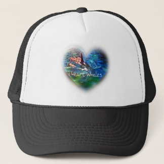 I love Orca Whales in heart gifts Trucker Hat