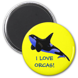 I Love Orcas! 2 Inch Round Magnet